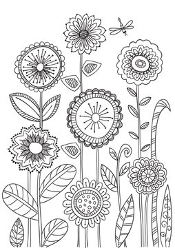 Floral coloring books page.