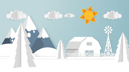 Paper Cut Out Art Scene Vector Illsutartion. Landscape Background.