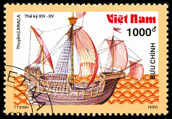 Ukraine - circa 2018: A postage stamp printed in Vietnam shows ship 14th-15th - Century Carrack. Series: Ancient boats. Circa 1990.