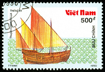 Ukraine - circa 2018: A postage stamp printed in Vietnam shows ship 15th - Century Caravel. Series: Ancient boats. Circa 1990.