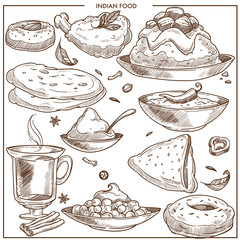 Indian spicy exotic food monochrome illustrations set