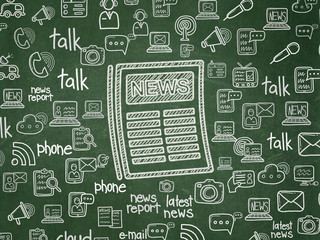 News concept: Chalk White Newspaper icon on School board background with  Hand Drawn News Icons, School Board