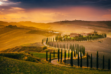 Garden Poster Tuscany Beautiful Tuscany at sunset after rain. Autumn in Crete Senesi with cypress trees. Italy, Europe