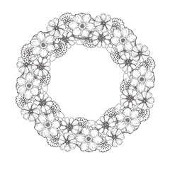 Hand drawn black and white illustration wreath of flowers, leaf. sketch. Vector eps 8.