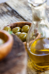 Fresh olives on wood