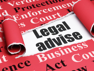 Law concept: black text Legal Advise under the curled piece of Red torn paper with  Tag Cloud, 3D rendering