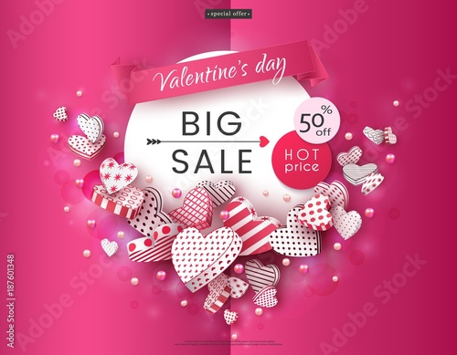 Valentine\'s Day, Big sale. A beautiful advertising banner with ...