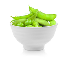 soybeans in a bowl on white background