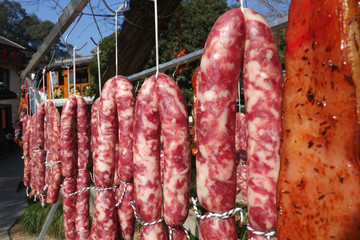 The meat drying outside on the sun