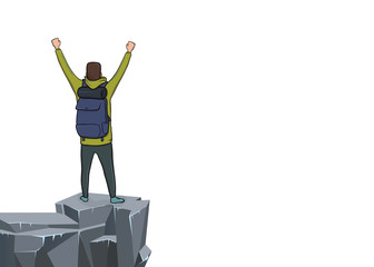 A young happy man with raised hands on the edge of the cliff. Back view. Mountain hiker, Explorer, mountaineer. A symbol of success. Vector Illustration with copy space on white background.
