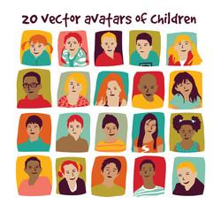 Children avatars group set.