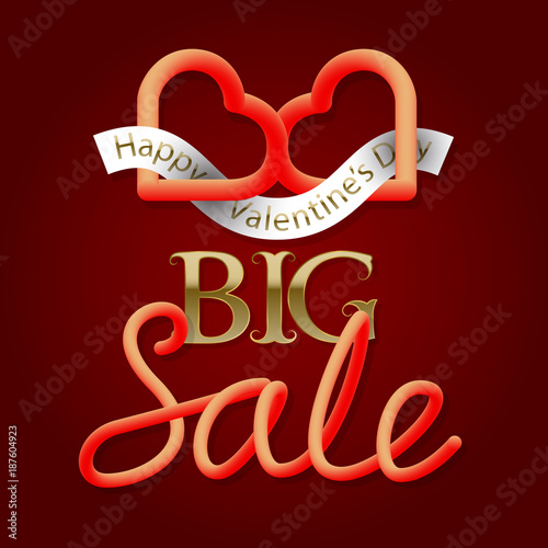Big Sale Golden And Gradient Luminous Text With Two Connected Hearts