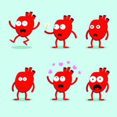 Hearty the heart cute mascot character Happy Valentine's day set vector illustration. Smiling, waving, happy, jumping, scared, lovely