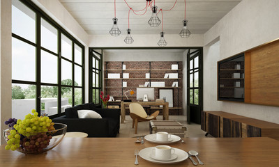 The modern loft living room interior design and concrete pattern wall background