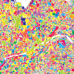 Hyderabad, India, colorful vector map