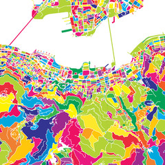 Hong Kong, China, colorful vector map