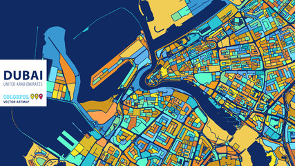 Dubai, United Arab Emirates, Colorful Vector Artmap