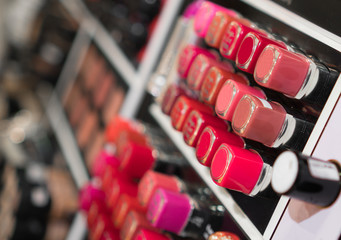 Lipstick testers in the beauty shop.
