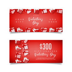 Red Gift Voucher  for Happy Valentine's Day. Top view on Gift Boxes. Design of Coupon Usable for Invitation and Ticket. Greeting Card with Seasonal Offer. Vector illustration.