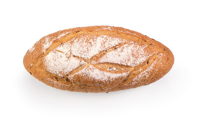 french round bread isolated on a white background