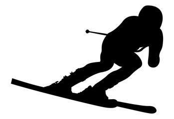 dynamic athlete skier in alpine skiing downhill