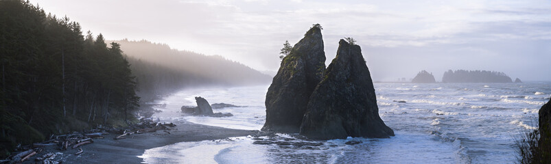 USA, Washington State, Olympic National Park, Seastack at Rialto beach Wall mural