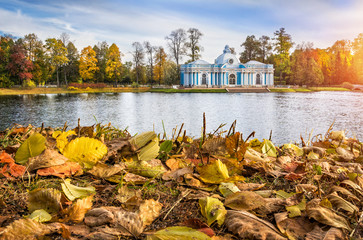 Павильон Грот в осеннем пейзаже  Pavilion Blue Grotto in Tsarskoye Selo