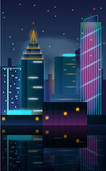 City night in neon lights with reflection in the water. Vector illustration of big city landscape with skyscrapers.