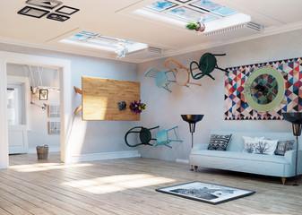 upside down room interior.