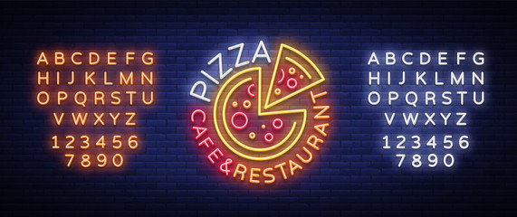 Pizza logo in neon style. Neon sign, emblem on Italian food. Pizza cafe, restaurant, fast food, dining room, pizzeria. Night shining pizza advertisement. Vector illustration. Editing text neon sign