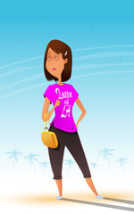 Fun cartoon and a bit self-confident woman