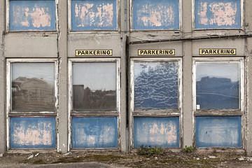 Parking Places Outside Blue Old Building