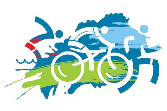 Triathlon race grunge stylized. Three triathlon athletes on the grunge background. Vector available.
