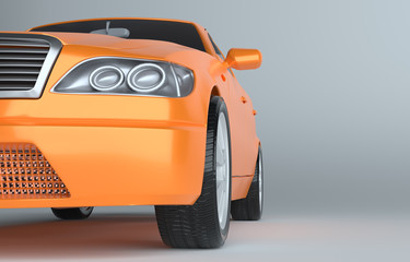 3d illustration of close-up luxury sports car