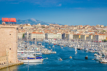 Foto op Canvas Barcelona Aerial view of old Vieux port and coast in Marseille, France