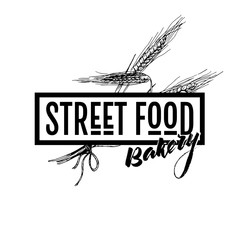 Hand drawn fast food banner. Street food bakery framed logo with wheat ers. engraved vector illustration. Isolated on white. restaurant, menu, street food, bakery, cafe, logo, flyer banner