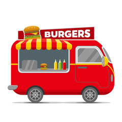 Burgers street food caravan trailer. Colorful vector illustration, cartoon style, isolated on white background