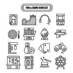 Fun and Game Line Design Icon Set