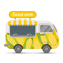 Sweet corn street food caravan trailer. Colorful vector illustration, cute style, isolated on white background