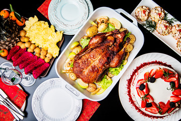 Christmas duck with apples