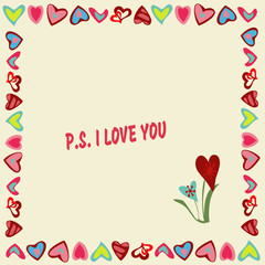 Frame of hearts on a yellow background with text P.S. I love you .