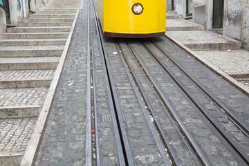 Funicular Tram and Track, Rua da Bica de Duarte Belo Street; Lisbon