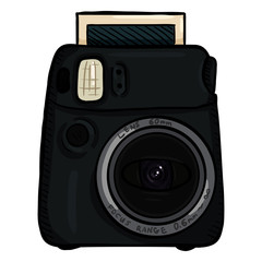 Vector Cartoon Instant Photo Camera. Front View.