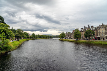 Inverness at cloudy weather in summer, Scotland