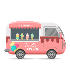 Ice cream street food caravan trailer. Colorful vector illustration, cute style, isolated on white background
