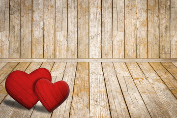 Valentine's Day background, red hearts on old wooden floor