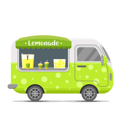 Fresh cold lemonade street food caravan trailer. Colorful vector illustration, cartoon style, isolated on white background