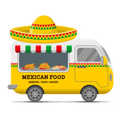Mexican food street caravan trailer. Colorful vector illustration, cute style, isolated on white background