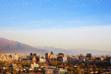 Skyline of office buildings in the wealthy district of Providencia in Santiago de Chile