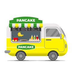 Pancake street food caravan trailer. Colorful vector illustration, cute style, isolated on white background